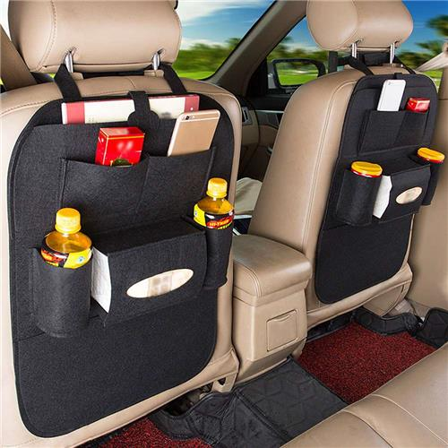 Car Seat Back Hanging Multi-function Car Storage Bag - Black