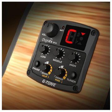 Cherub GT-6 Acoustic Guitar Preamp Pick Up With Tuner Reverb Delay Chorus Wide Effects