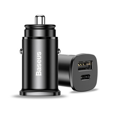 Baseus 30W Dual USB Type C PD3.0 QC4.0 Fast Car Charger For iPad Pro Smartphone Charge AFC SCP VOOC