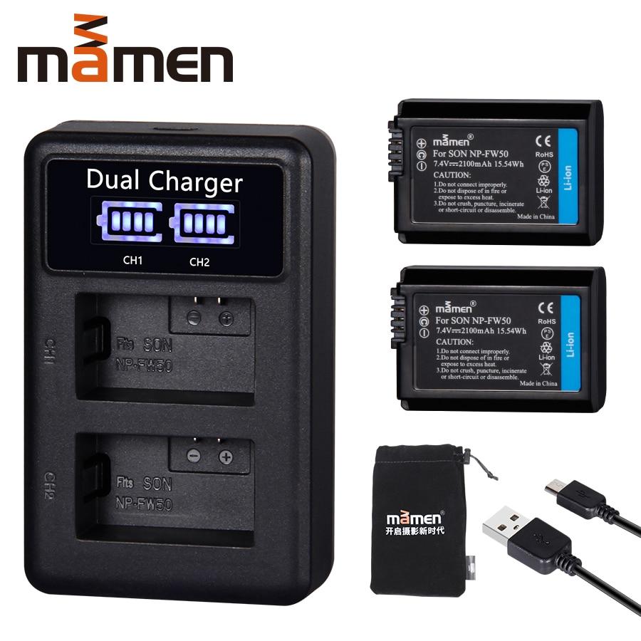 2pcs 2100mAh NP FW50 NP FW50 Digital Camera Battery +LCD USB Dual Charger for Sony NEX 3 a7R Alpha a6500 a6300 a6000 a5000 a3000