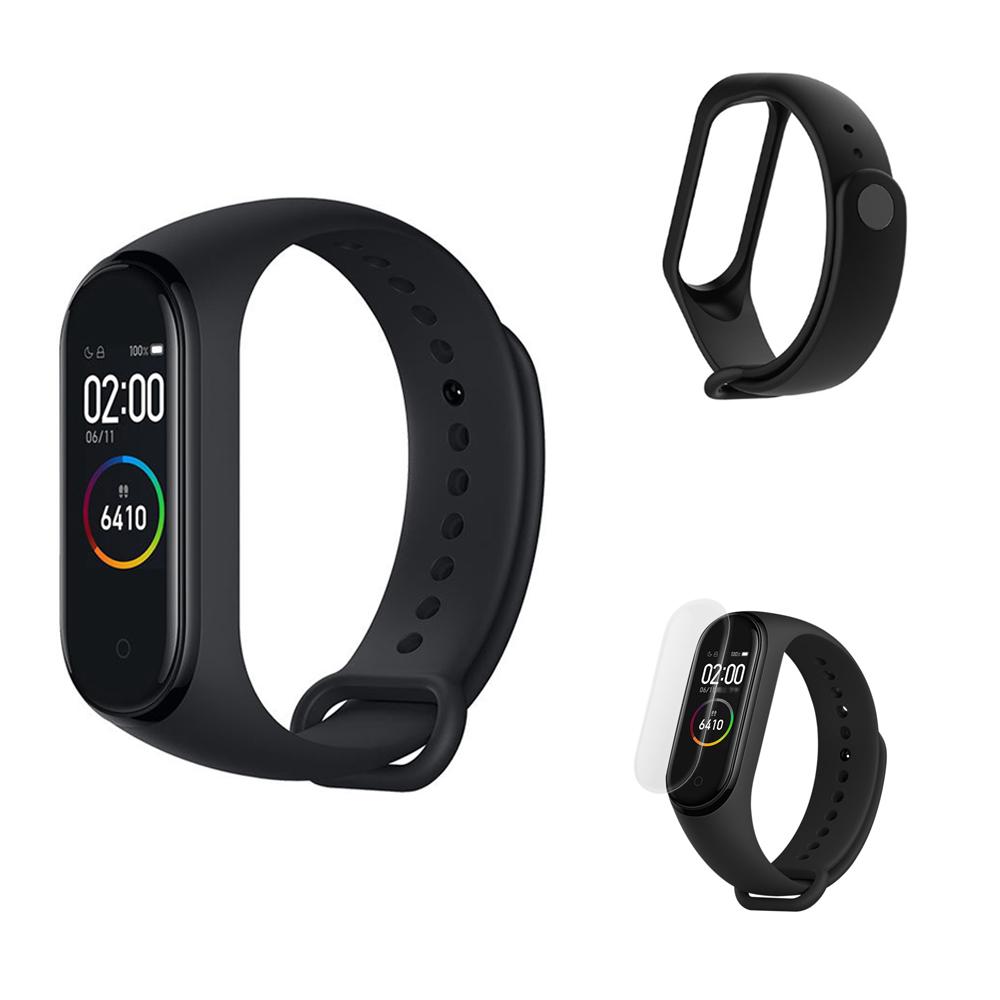 Xiaomi Mi Band 4 Smart Bracelet (Black) + Replacement Strap (Black) + Protective Screen Film (Transparent)