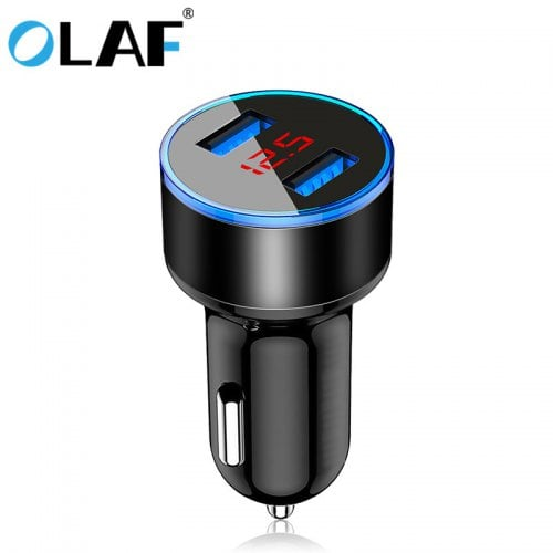 OLAF 5V 3.1A Metal Dual USB Fast Charging Car Charger Digital Display For iPhone Xiaomi Samsung