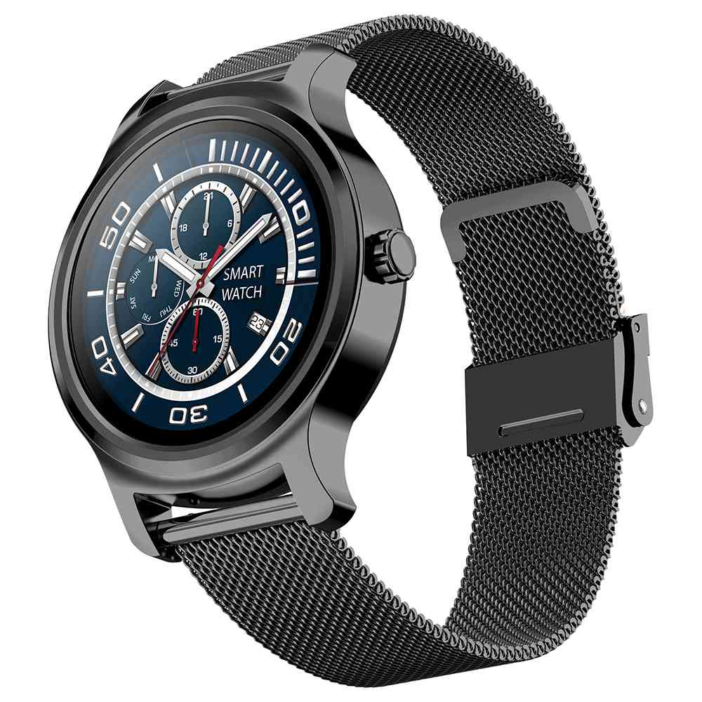 Makibes R2 Smart Watch 1.3 Inch IPS Round Screen IP67 Heart Rate Blood Pressure Monitor Call Message Reminder Music Player Metal Strap - Black