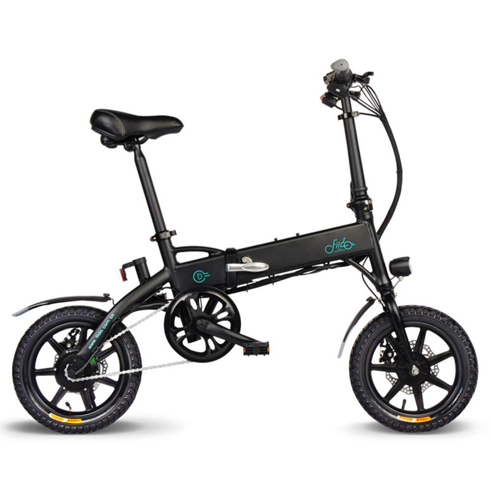 FIIDO D1 Folding Electric Moped Bike City Bike Commuter Bike Three Riding Modes 14 Inch Tires 250W Motor 25km/h 7.8Ah Lithium Battery 25-40KM Range - Black