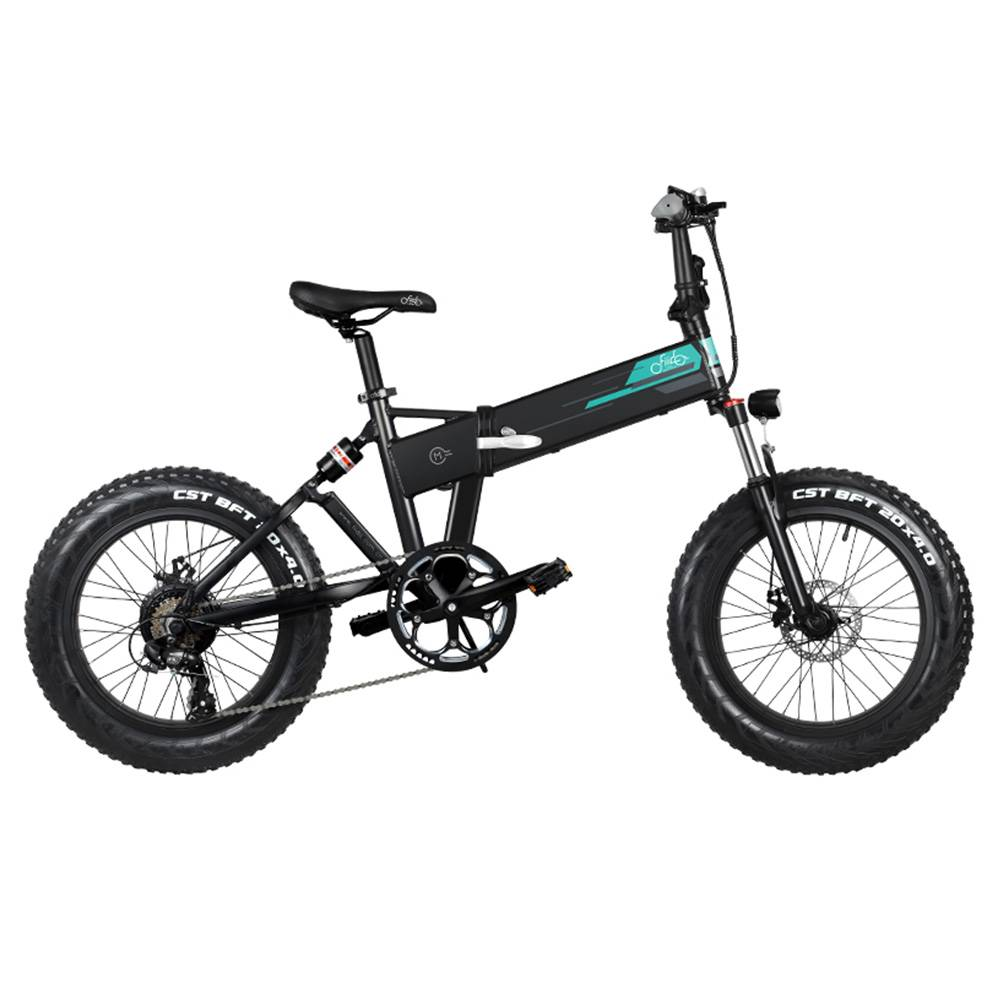 "FIIDO M1 Folding Electric Mountain Bike 20"" Wheels 4 Inch Fat Tires 250W Motor Shimano 7 Speed Derailleur 12.5Ah Lithium Battery Three Riding Modes Dual Disc Brake LCD Display - Black"