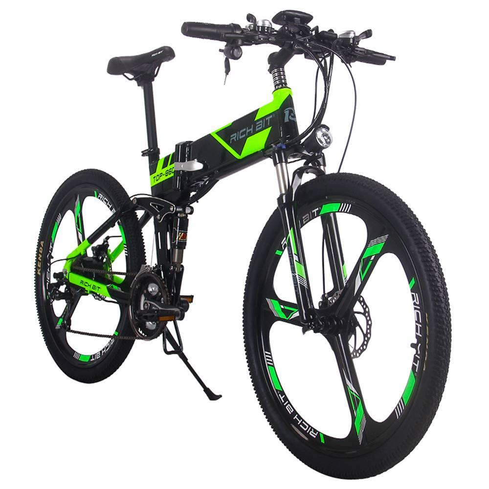 RICH BIT TOP-860 Folding Electric Moped Bike 26 Inch Tires 250W Brushless Motor 35km/h Max Speed Up To 40km Range Disc Brake Smart Display - Black Green