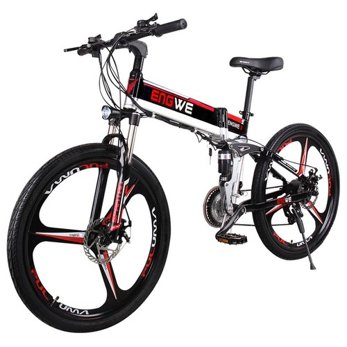 ENGWE E3 Folding Moped Electric Bicycle Mountain Bike 26 Inch Tires 400W Brushless Motor Max Speed 30km/h Up To 50km Range 3 Riding Modes Dual Disc Brakes Smart Display Max Load 120kg - Black