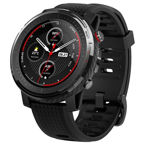 HUAMI AMAZFIT Stratos 3 Smart Sports Watch 1.34 Inch Full Moon Screen Dual-Mode 5ATM GPS Firstbeat Silicone Strap - Black