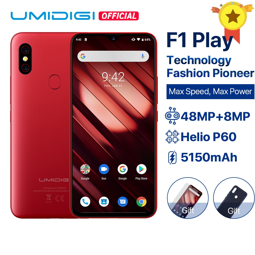 "UMIDIGI F1 Play Android 9.0 6GB RAM 64GB ROM 48MP+8MP+16MP Cameras 5150mAh 6.3"" FHD+ Helio P60 Global Version Smartphone Dual 4G Cellphones    - AliExpress"
