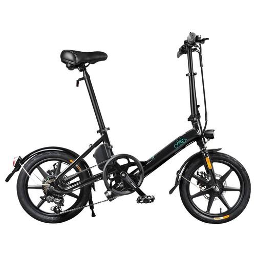 FIIDO D3S Folding Moped Electric Bike Gear Shifting Version City Bike Commuter Bike 16 inch Tires 250W Motor Max 25km/h SHIMANO 6 Speeds Shift 7.8Ah Battery - Black