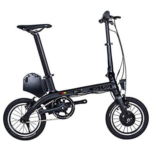 SAVA E0 Folding Electric Bicycle TORAY T700 Carbon Fiber Frame 14-inch 180W Brushless Motor Samsung 7.8Ah Lithium Battery Up To 40km Range Height Adjustable Smart Display IP67 - Black