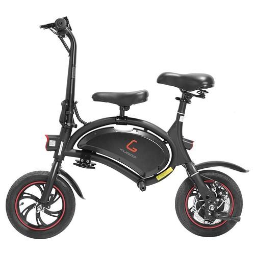 KUGOO Kirin B1 with Children Seat Folding Moped Electric Bike E-Scooter 250W Brushless Motor Max Speed 25km/h 6AH Lithium Battery Disc Brake 12 Inch Pneumatic Tires - Black