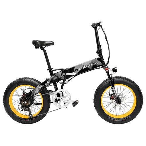 LANKELEISI X2000 Plus Folding Electric Bike Bicycle 48V 10.4AH 500W 20x4.0 inch Fat Tire Aluminum Alloy Frame Shimano Gear Shift Max Speed 35km/h IP54 90KM Mileage Range - Black Yellow