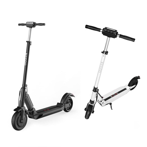 [Set of Two] KUGOO S1 Folding Electric Scooter 350W Motor LCD Display Screen 3 Speed Modes 8.0 Inches Solid Rear Anti-Skid Tire - Black+White