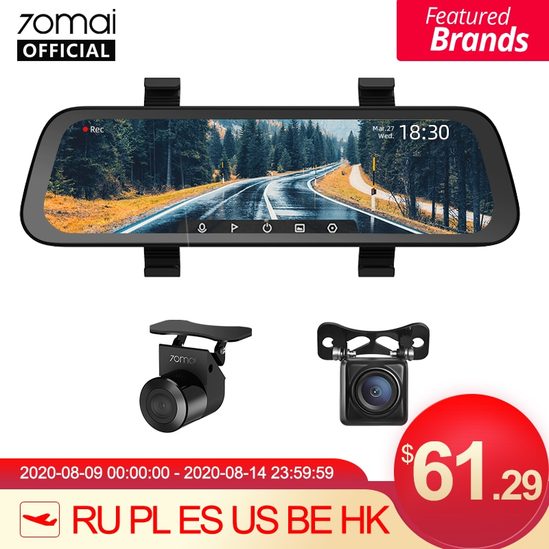 9.35 Inch Full Screen 70mai Rearview Dash Cam Wide 1080P Auto Cam 130FOV 70mai Mirror Car Recorder Stream Media Car DVR DVR/Dash Camera  - AliExpress