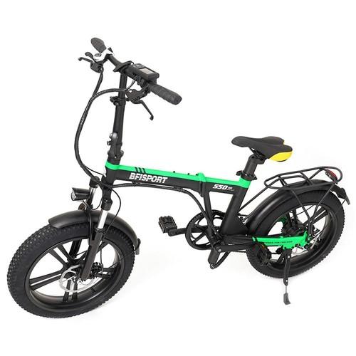 BFISPORT BFI-20 Folding Electric Mountain Bike 20 inch 3.0 Fat Tire 250W Motor 6.4Ah LG Battery Display - Black Green