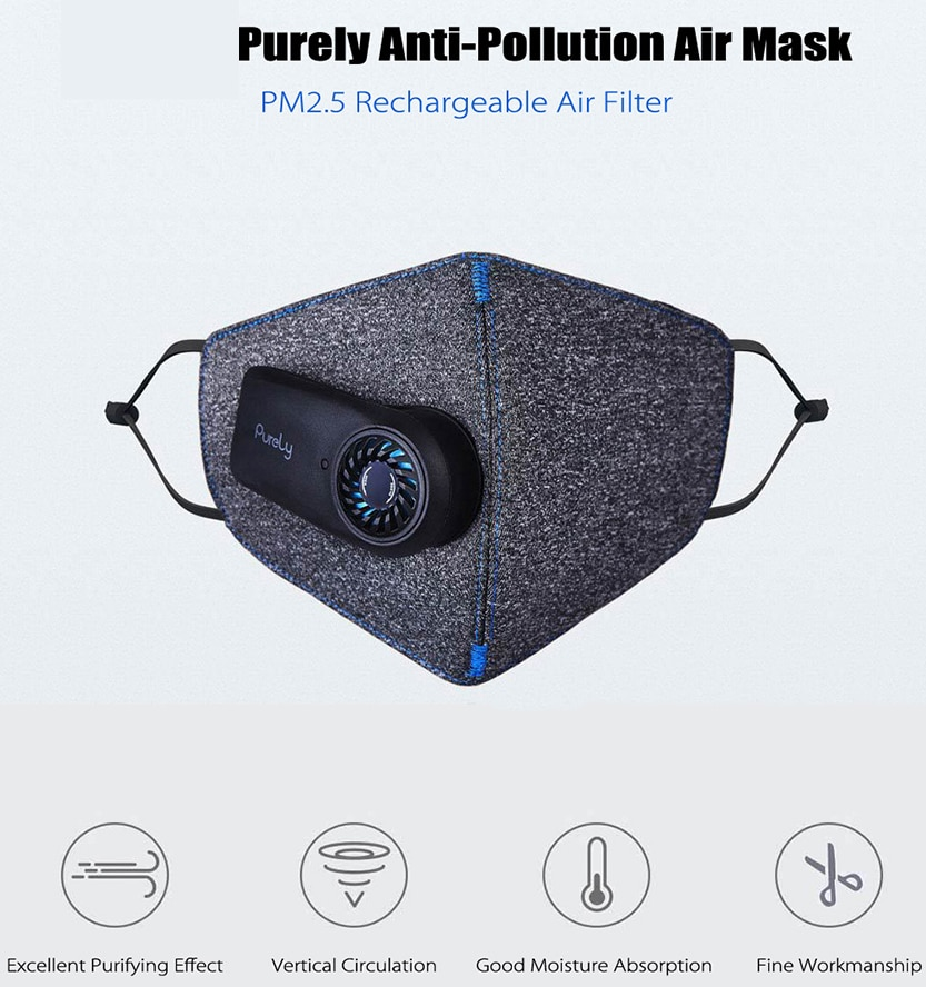 New Original Xiaomi Purely Air Pollution Mouth Face Mask Rechargeable Anti Dust Air Breathing Purifier Mask PM2.5 Filter Mask|Smart Remote Control| - AliExpress