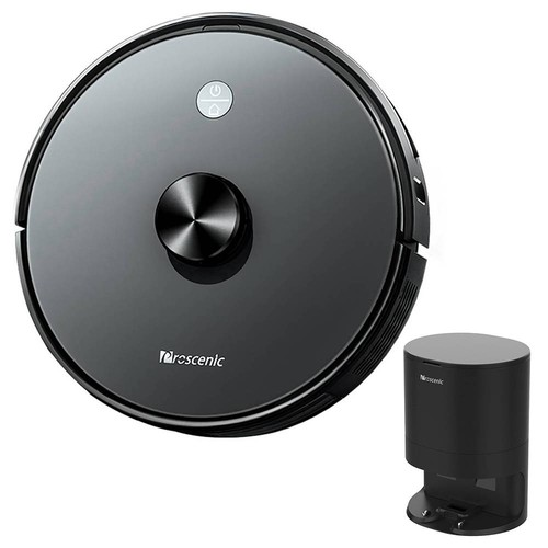 Proscenic M7 Pro 2-in-1 Smart Robot Vacuum Cleaner 2600Pa Powerful Suction LDS Laser Navigation APP and Alexa Control Multi Mapping for Pet Hairs Carpets Hard Floor + Automatic Suction Station - Black