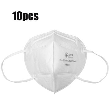 10Pcs KN95 3D Foldable Face Masks 4-layer Dustproof Non-woven Air Filter Breathing Protective Mask