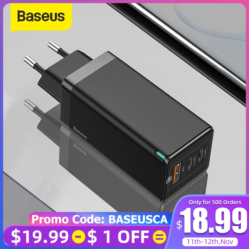 Baseus 65W GaN Charger Quick Charge 4.0 3.0 Type C PD USB Charger with QC 4.0 3.0 Portable Fast Charger ForiP ForXiaomi Laptop Mobile Phone Chargers  - AliExpress