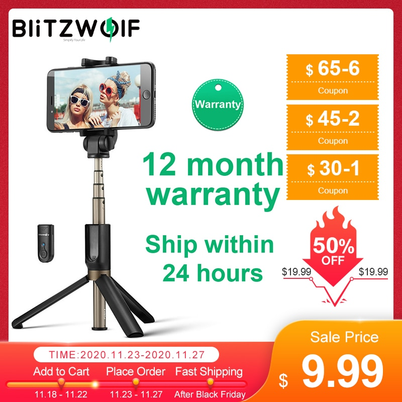 BlitzWolf BS3 Wireless bluetooth Selfie Stick Mini Tripod Extendable Foldable Monopod For iPhone For Samsung Xiaomi Huawei Phone|extendable monopod|monopod universalselfie blitzwolf - AliExpress