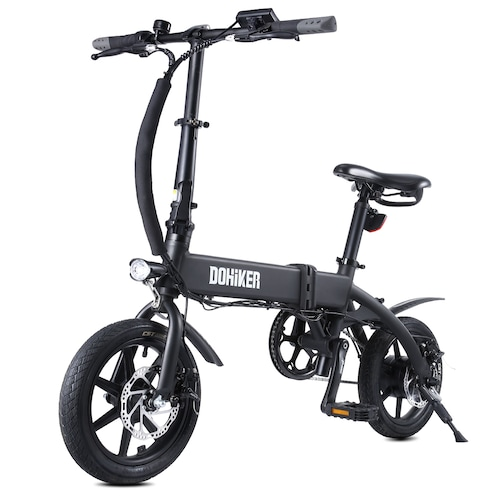 DOHIKER Folding Electric Bicycle 250W Collapsible Electric Commuter Bike with 14 Wheels 36V 10Ah Rechargeable Lithium-ion Battery LED Headlight