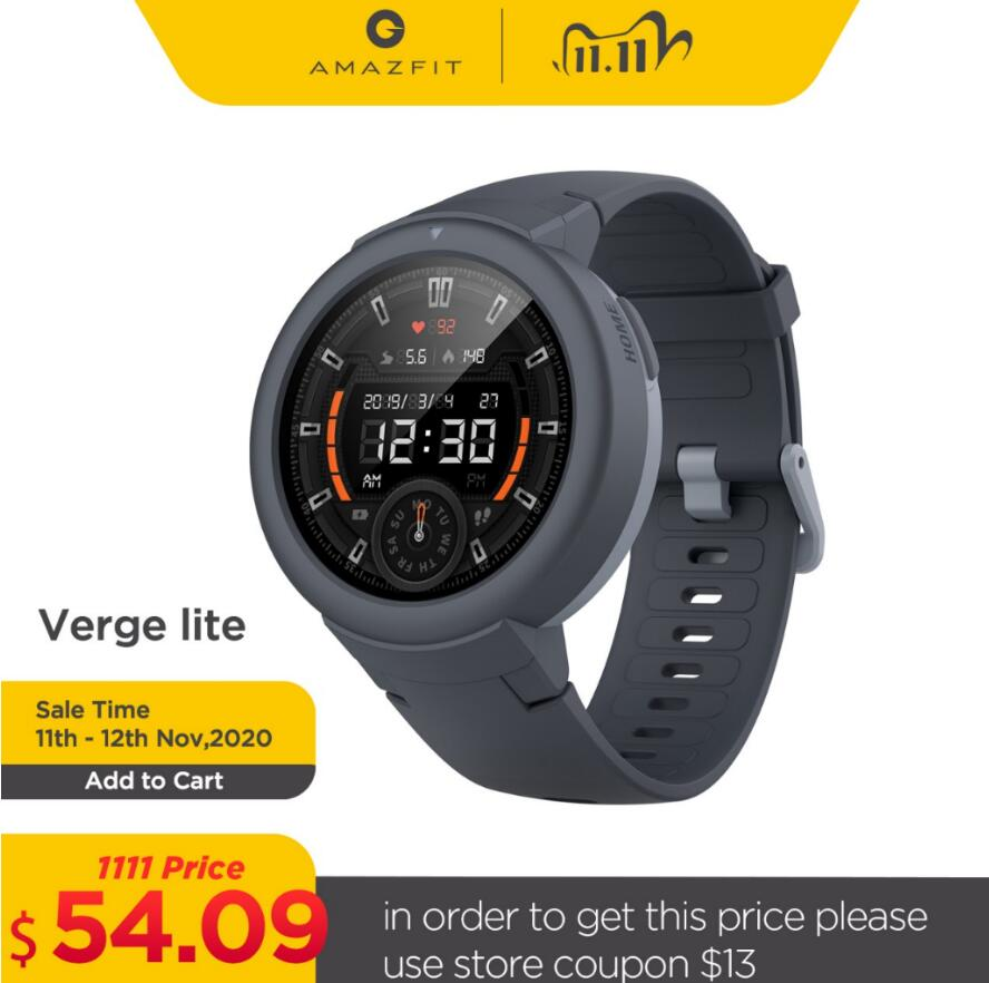 In stock Global Amazfit Verge Lite Smartwatch IP68 Smart Watch GPS GLONASS Long Battery Life AMOLED Display for Android iOS|Smart Watches| - AliExpress