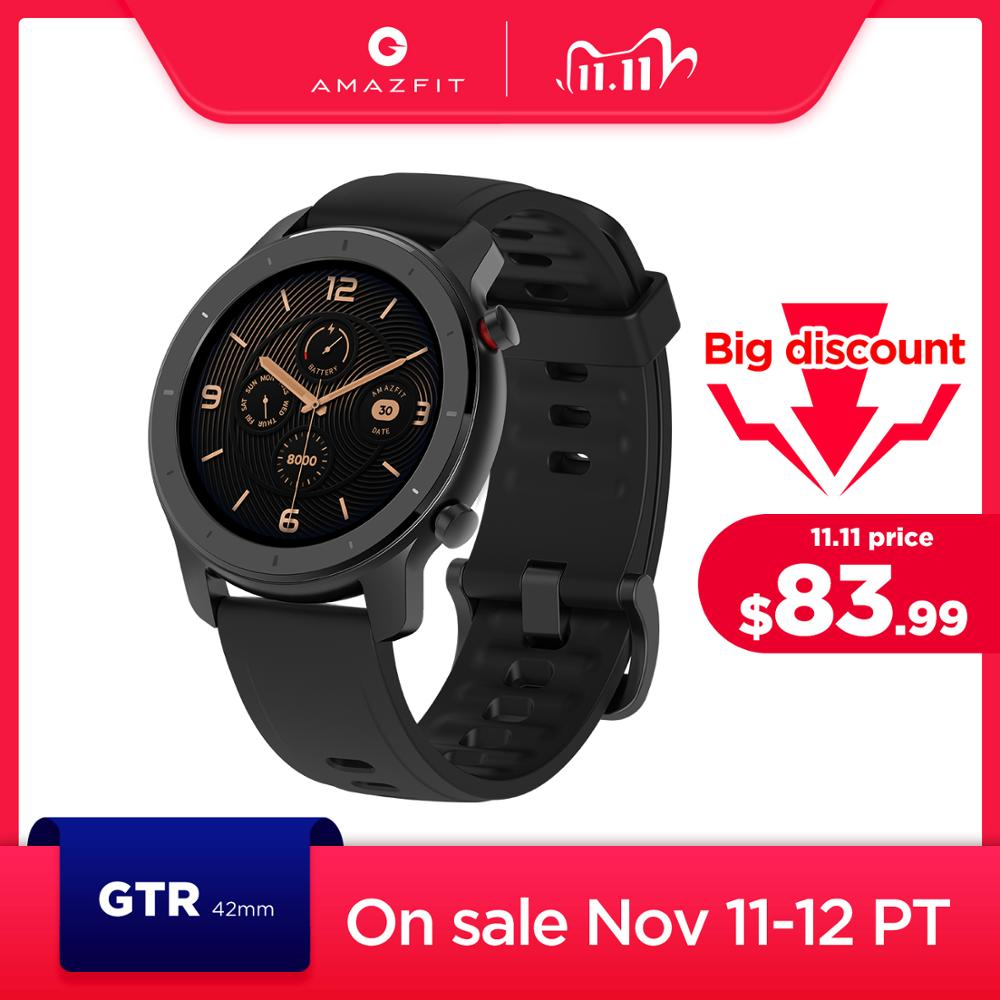 In Stock Global Version New Amazfit GTR 42mm Smart Watch 5ATM women's watches 12Days Battery Music Control For Android IOS Smart Watches  - AliExpress