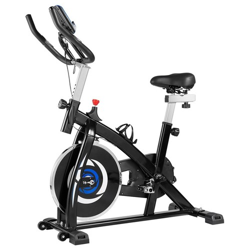 Indoor Cycling Bike with 4-Way Adjustable Handle & Seat, Home Fitness Stationary Aerobic Portable Spinning Bike - Blue Black