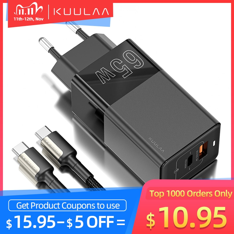 KUULAA 65W GaN Charger Quick Charge 4.0 3.0 USB Type C QC PD USB Charger Portable Fast Charger For iPhone Xiaomi Laptop Tablet|Mobile Phone Chargers| - AliExpress