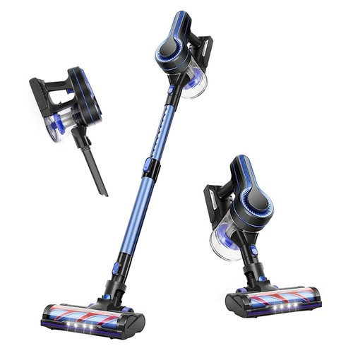 APOSEN H250 Handheld Cordless Vacuum Cleaner 250W Brushless Motor 24Kpa Strong Suction 2200mAh Removable Battery 30 Minutes Running Time for Pet Hair, Dirt, Debris, Hard Floor, Carpet - Blue