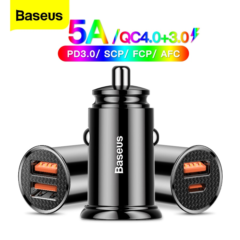 Baseus USB Car Charger Quick Charge 4.0 3.0 QC4.0 QC3.0 QC SCP 5A Type C 30W Fast Car USB Charger For iPhone Xiaomi Mobile Phone Car Chargers  - AliExpress