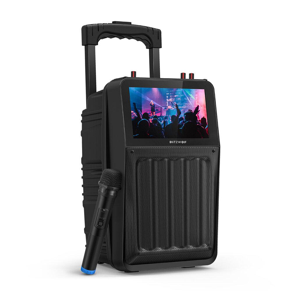 BlitzWolf® BW-DM1 30W TFT Screen Wireless Party Karaoke Speaker with TFT Screen, HiFi Sound, Wireless Microphone, Multiple Ports, 3000mAh Battery Capacity