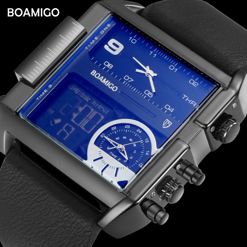 BOAMIGO brand men sports watches 3 time zone big man fashion military LED watch leather quartz wristwatches relogio masculino|clock brand|clock fashionclock men - AliExpress