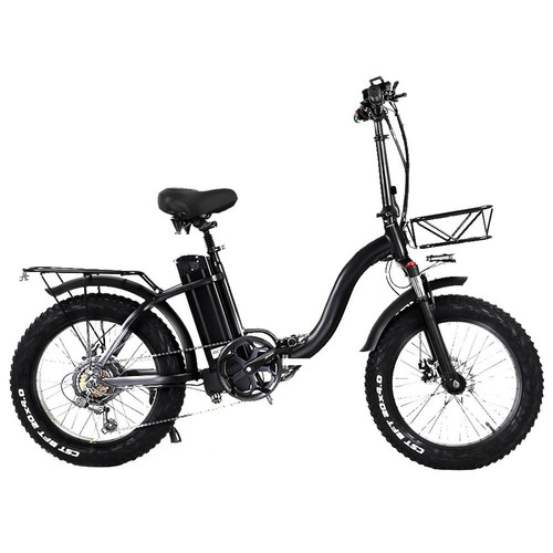 CMACEWHEEL Y20 Electric Moped Bike 20 x 4.0 Fat Tires Five Speeds 750W Motor 15AH Battery Smart Display with TAIL PACK - Black