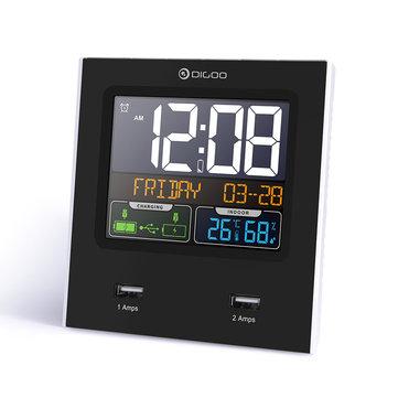 Digoo DG-C3X Time Calendar 12hr/24hr Format Switchable Temperature Humidity Display Dual Clock