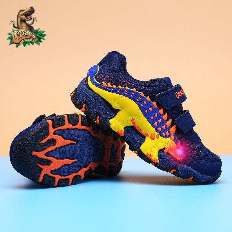 DINOSKULLS Kids LED Light Shoes Boys Glowing Sneakers Dinosaur Autumn Tennis Breathable Sports Running Children's Shoes For Boy|Sneakers| - AliExpress