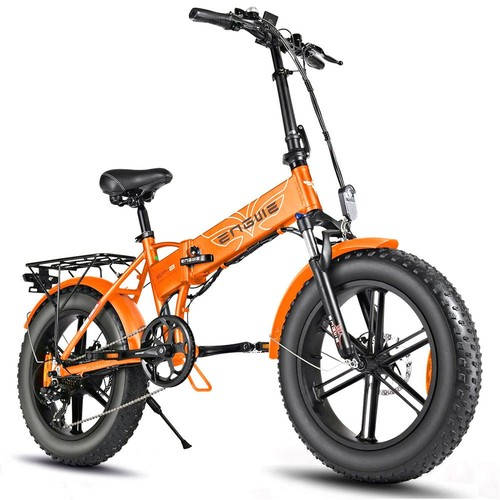 ENGWE EP-2 500W 20 inch Fat Tire Electric Folding Bicycle Mountain Beach Snow Bike for Adults Aluminum Electric Scooter 7 Speed Gear E-Bike with Removable 48V 12.5A Lithium Battery Dual Disc - Orange