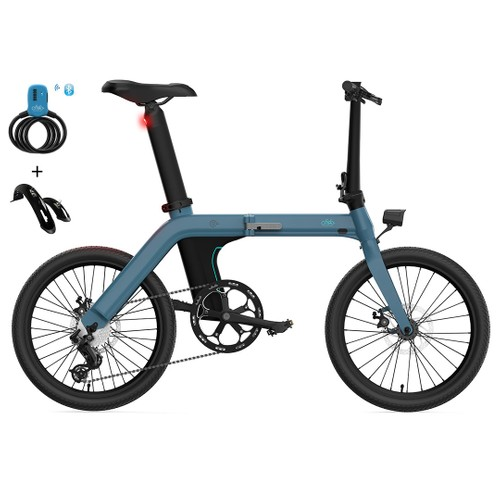 FIIDO D11 Folding Electric Moped Bicycle 20 Inches Tire 25km/h Max Speed Three Modes 11.6AH Lithium Battery 100km Range Adjustable Seat Dual Disc Brakes with LCD Display + Bluetooth Bicycle Lock + Fenders - Blue