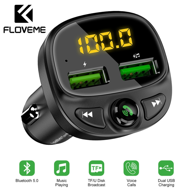 FLOVEME USB Car Charger For Phone Bluetooth Wireless FM Transmitter MP3 Player Dual USB Charger TF Card Music HandFree Car Kit Car Chargers  - AliExpress
