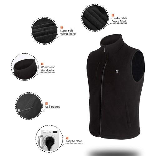 Lifebee Electric Heated Vest 3 Optional Temperature Control USB Fleece Heated Jacket - Size S