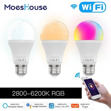 MoesHouse 9W E27 WiFi Smart LED Bulb RGB C+W Dimmable Smart Life Tuya APP Lamp Work with Alexa Google Home AC110V/220V