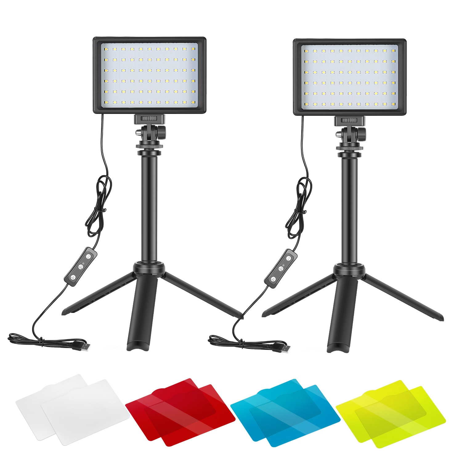 Neewer 2 Packs Portable Photography Lighting Kit Dimmable 5600K USB 66 LED Video Light with Mini Adjustable Tripod Stand|Photo Studio Accessories| - AliExpress