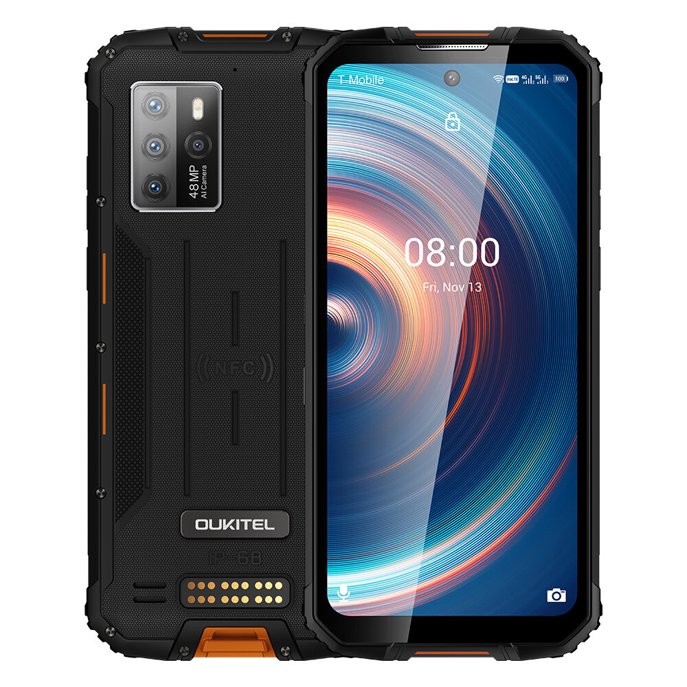 OUKITEL WP10 Global Bands 5G IP68&IP69K Waterproof 6.67 inch FHD+ NFC 8000mAh Android 10 8GB 128GB Dimensity 800 48MP Quad Rear Camera Rugged Smartphone COD
