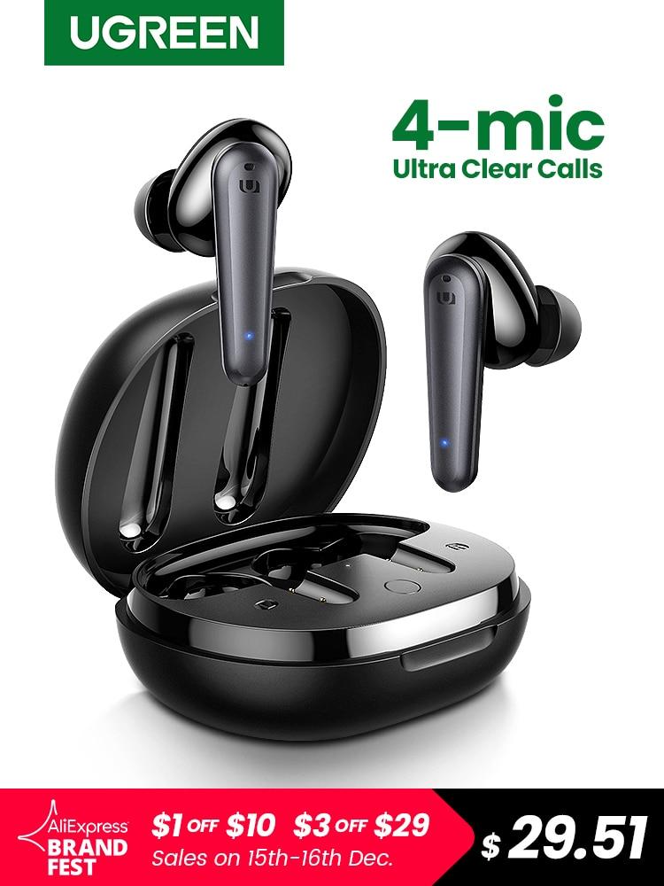 UGREEN HiTune T1 Wireless Earbuds with 4 Mics TWS Bluetooth 5.0 Earphones True Wireless Stereo 24H Playing USB C Charge Earphoe|Bluetooth Earphones & Headphones| - AliExpress
