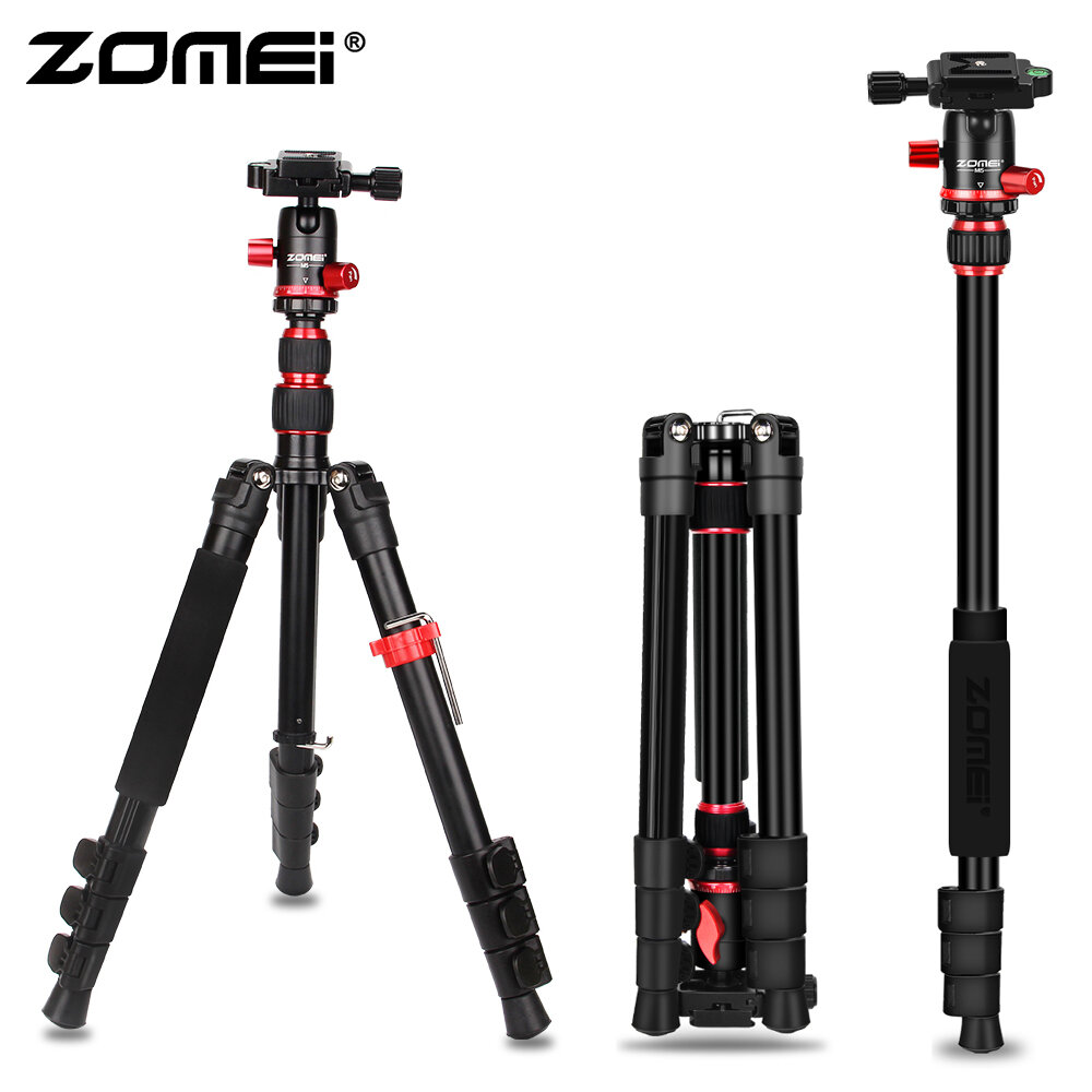 Zomei M5 Travel Camera Tripod Lightweight Aluminum Tripod Compact Portable Stand with 360 Degree Ball Head and Carry Bag Case