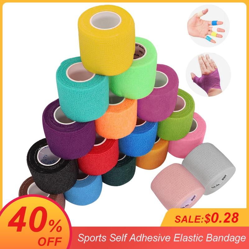4.5m Colorful Sport Self Adhesive Elastic Bandage Wrap Tape Elastoplast For Knee Support Pads Finger Ankle Palm Shoulder|Elastoplast| - AliExpress