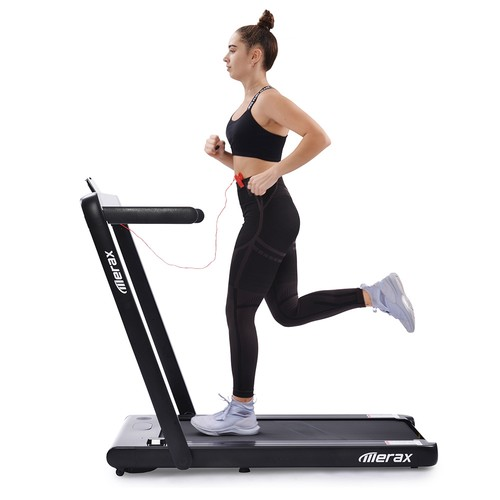 Merax 2.25 HP Electric Folding Treadmill 2-in-1 Running Machine with Remote Control/LED Display Fully Assembled Portable - Black