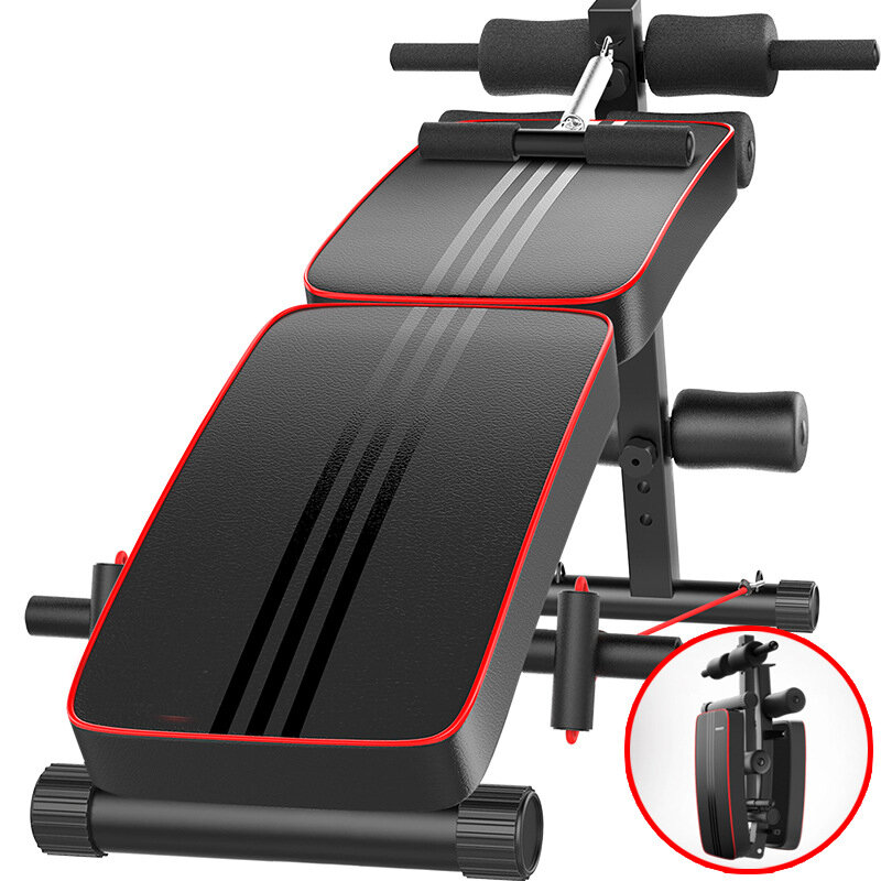 Multifunctional Sit-up Bench Foldable Abdominal Machine 10 Gear Adjustable Trainer Board with Pillow Home Gym Fitness Equipment