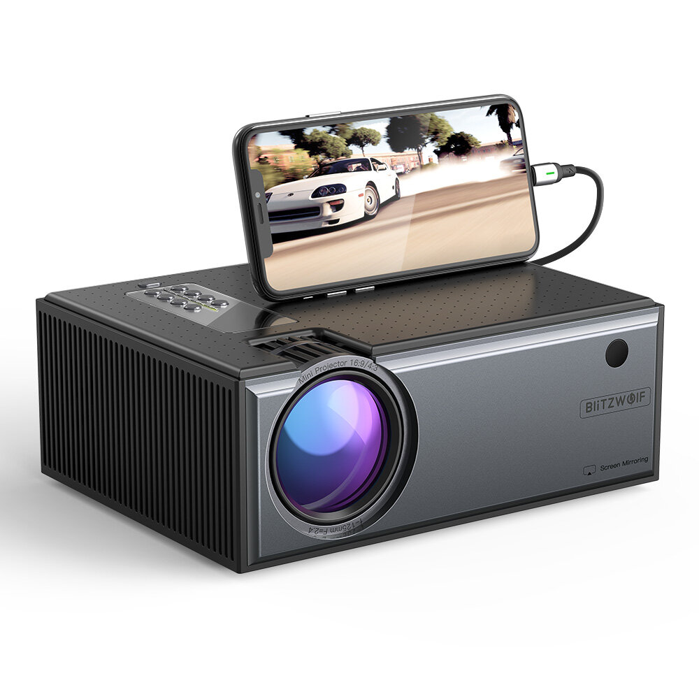 [Newest Version]Blitzwolf® BW-VP1-Pro LCD Projector 2800 Lumens Phone Same Screen Version Support 1080P Input Dolby Audio Wireless Portable Smart Home Theater Projector Beamer